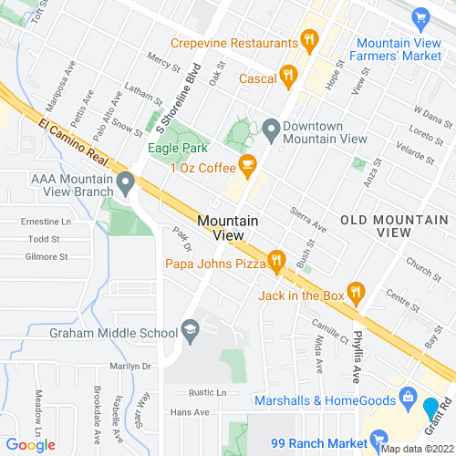 Map of Mountain View, CA